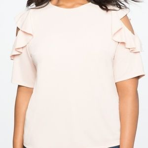 Eloquii Cold-Shoulder Ruffle Top - 18